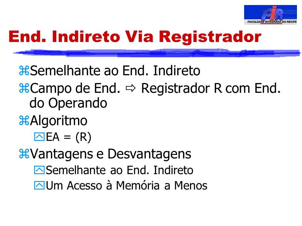 End. Indireto Via Registrador