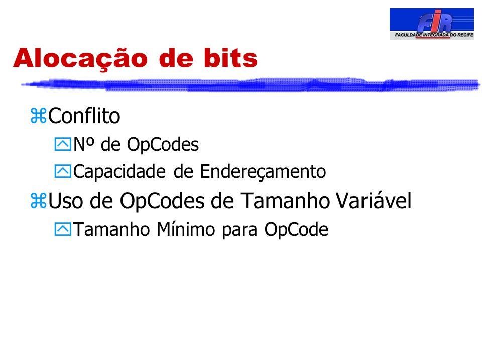 Alocação de bits Conflito Uso de OpCodes de Tamanho Variável