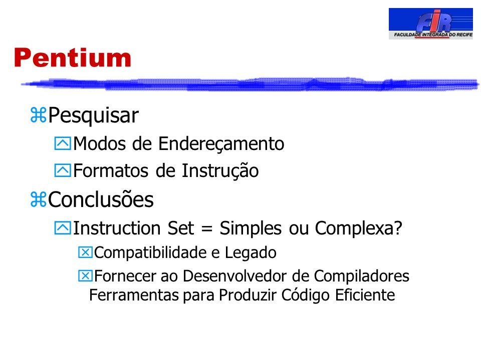Pentium Pesquisar Conclusões Modos de Endereçamento