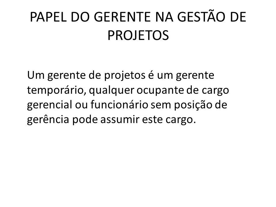 PAPEL DO GERENTE NA GESTÃO DE PROJETOS