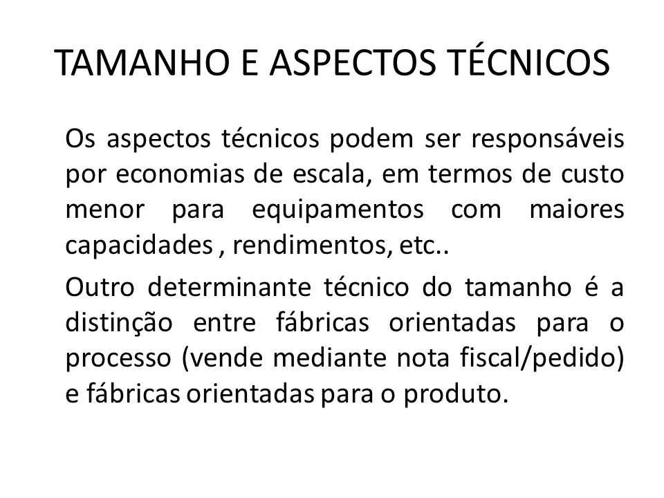 TAMANHO E ASPECTOS TÉCNICOS