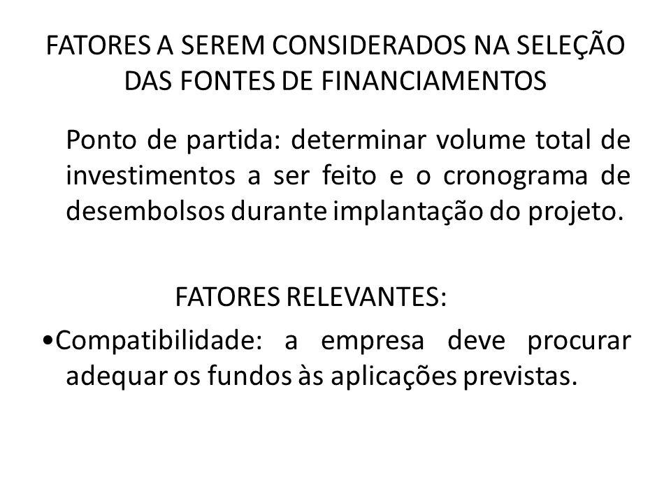 FATORES A SEREM CONSIDERADOS NA SELEÇÃO DAS FONTES DE FINANCIAMENTOS