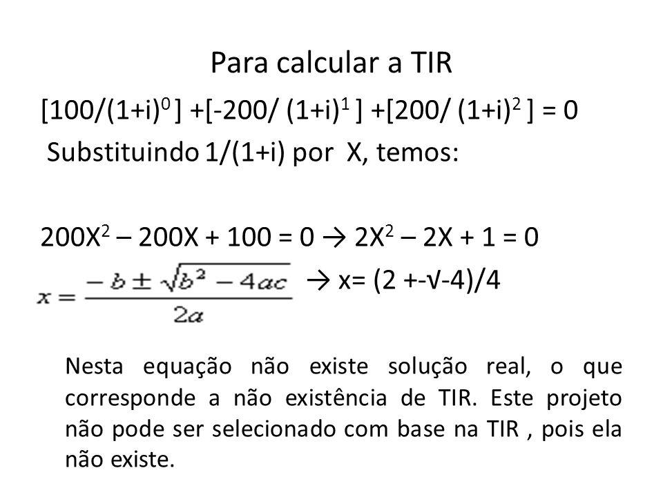 Para calcular a TIR