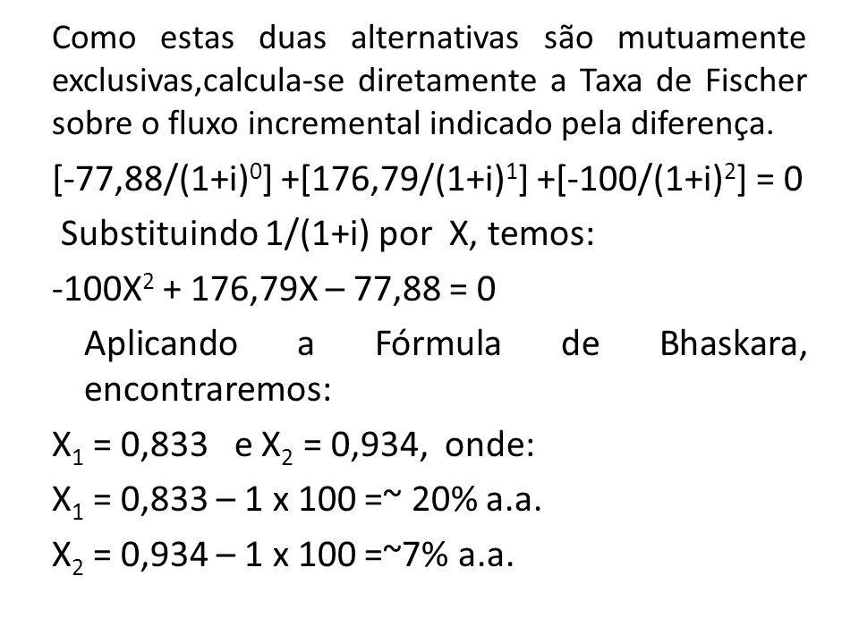 Como estas duas alternativas são mutuamente exclusivas,calcula-se diretamente a Taxa de Fischer sobre o fluxo incremental indicado pela diferença.