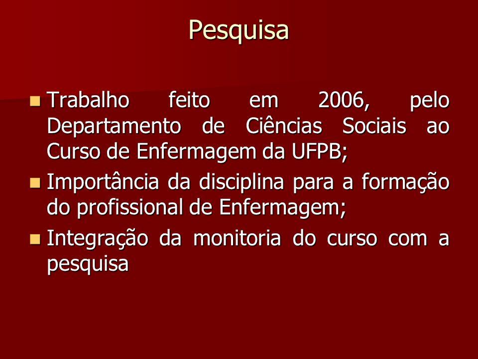 Pesquisa Trabalho feito em 2006, pelo Departamento de Ciências Sociais ao Curso de Enfermagem da UFPB;