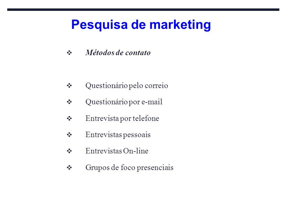 Pesquisa de marketing Métodos de contato Questionário pelo correio