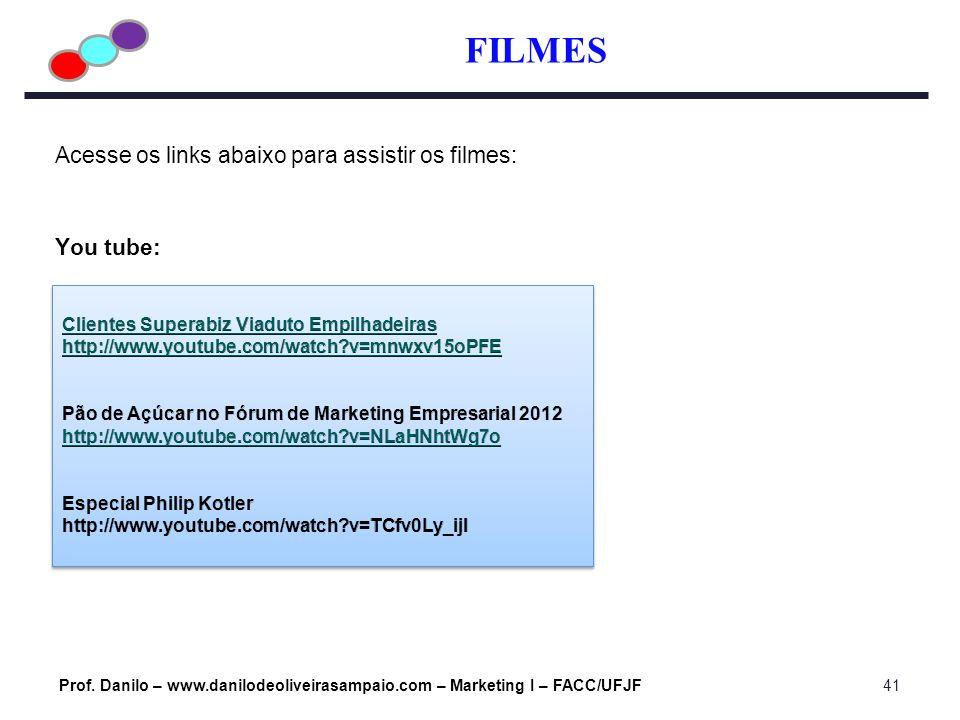 FILMES Acesse os links abaixo para assistir os filmes: You tube: