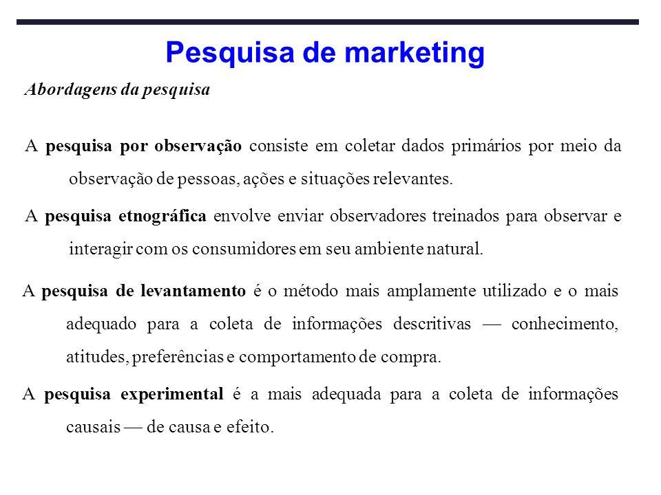 Pesquisa de marketing Abordagens da pesquisa