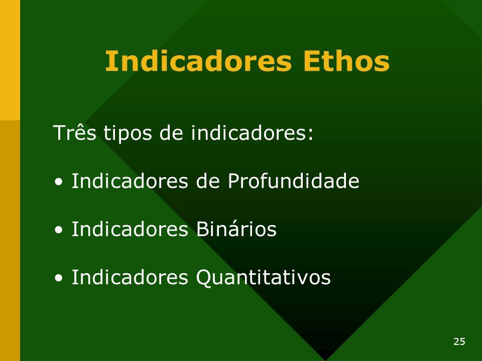 Indicadores Ethos Três tipos de indicadores: