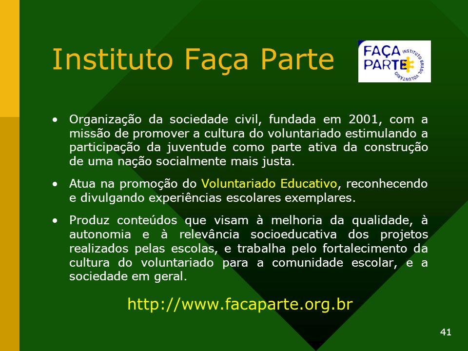 Instituto Faça Parte http://www.facaparte.org.br
