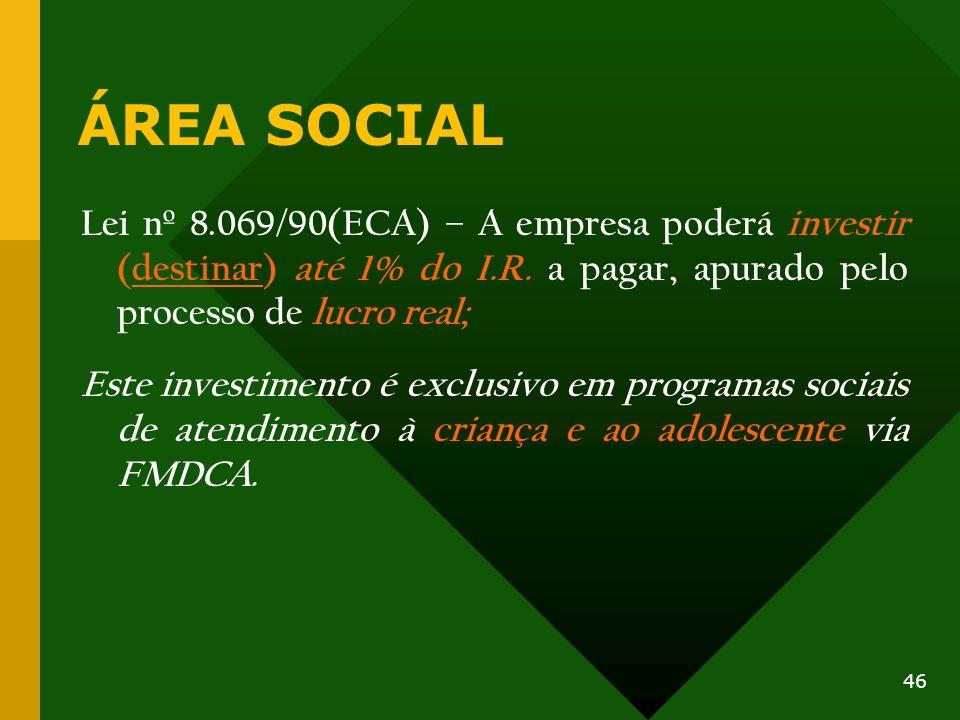 ÁREA SOCIAL Lei nº 8.069/90(ECA) – A empresa poderá investir (destinar) até 1% do I.R. a pagar, apurado pelo processo de lucro real;
