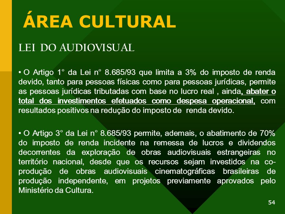 ÁREA CULTURAL LEI DO AUDIOVISUAL