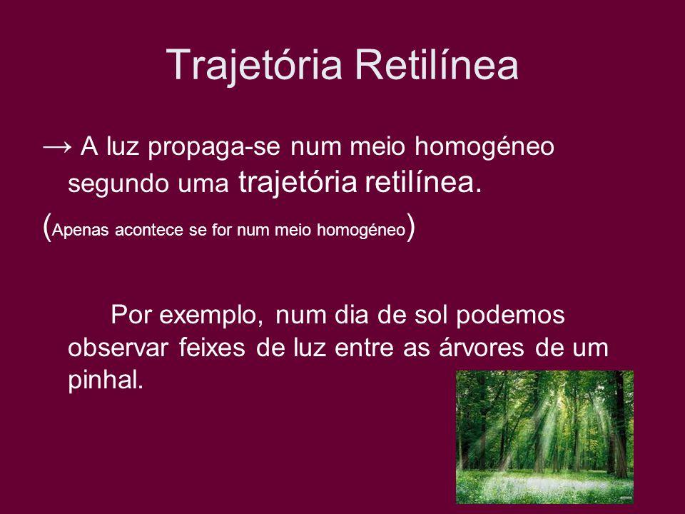 Trajetória Retilínea→ A luz propaga-se num meio homogéneo segundo uma trajetória retilínea. (Apenas acontece se for num meio homogéneo)