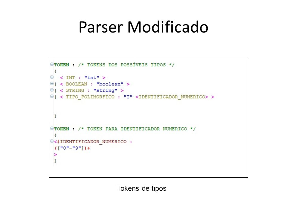 Parser Modificado Barza! Tokens de tipos