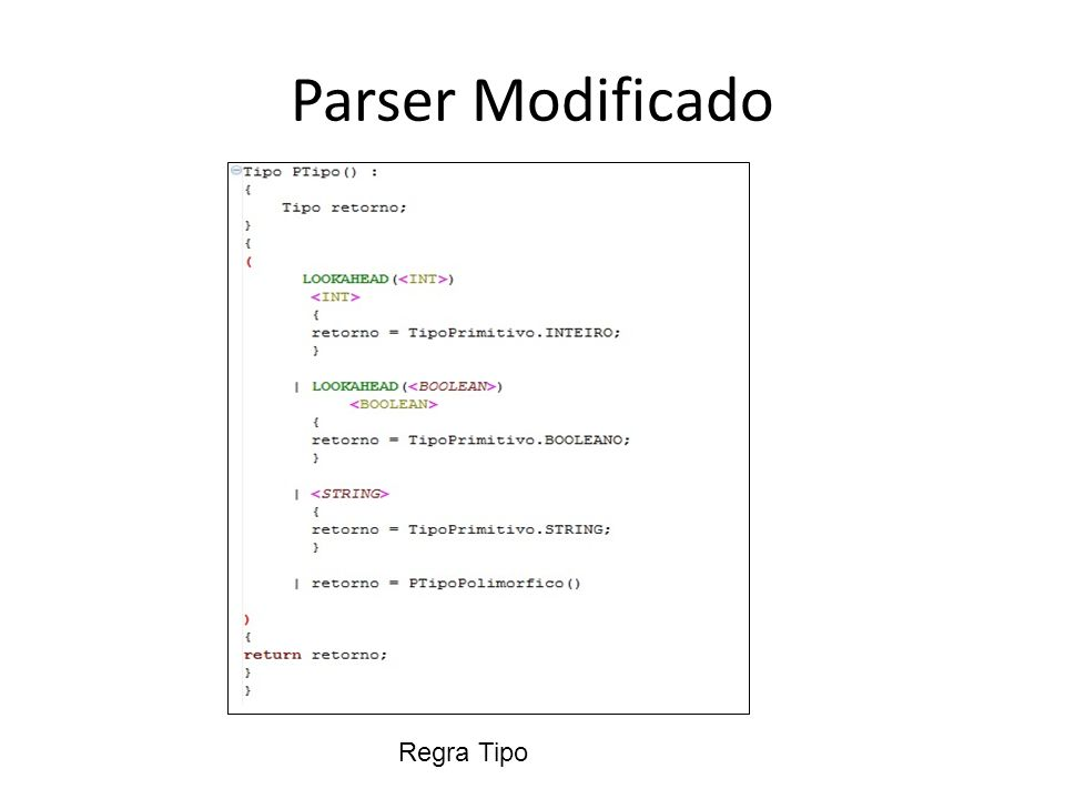 Parser Modificado Regra Tipo