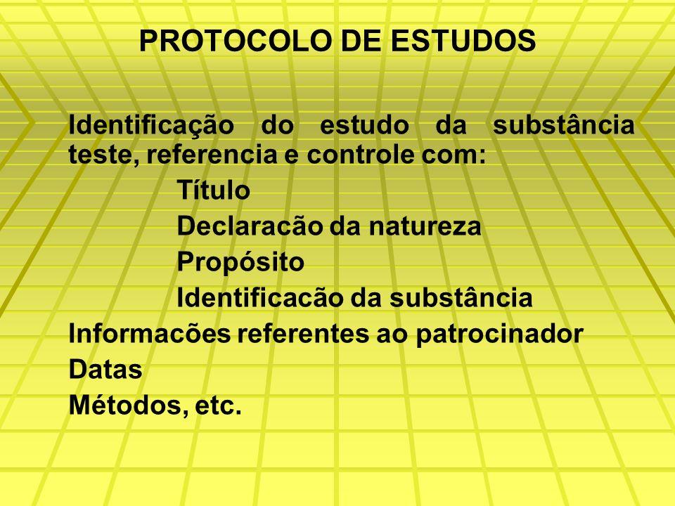 PROTOCOLO DE ESTUDOS Identificação do estudo da substância teste, referencia e controle com: Título.