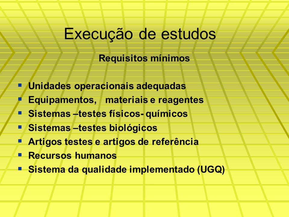 Execução de estudos Requisitos mínimos Unidades operacionais adequadas