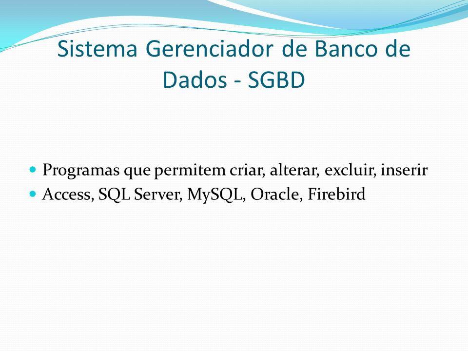 Sistema Gerenciador de Banco de Dados - SGBD