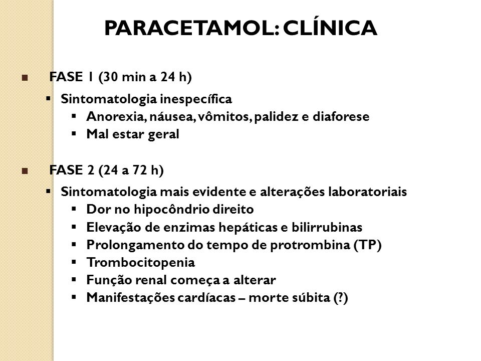PARACETAMOL: CLÍNICA FASE 1 (30 min a 24 h)