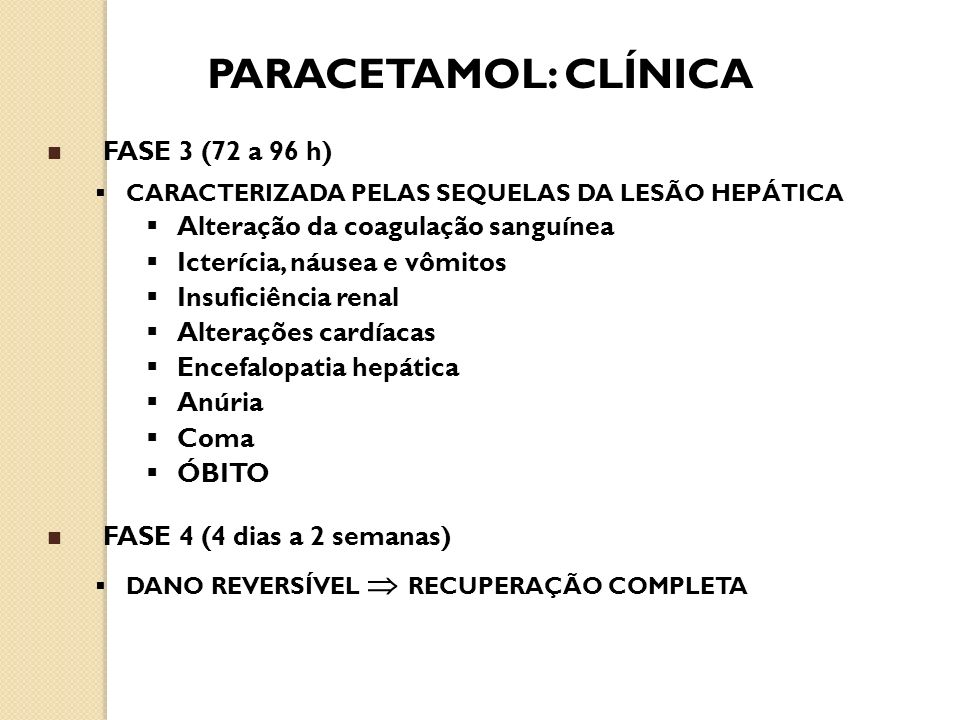 PARACETAMOL: CLÍNICA FASE 3 (72 a 96 h)