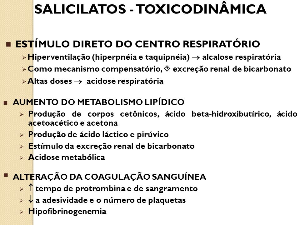 SALICILATOS - TOXICODINÂMICA