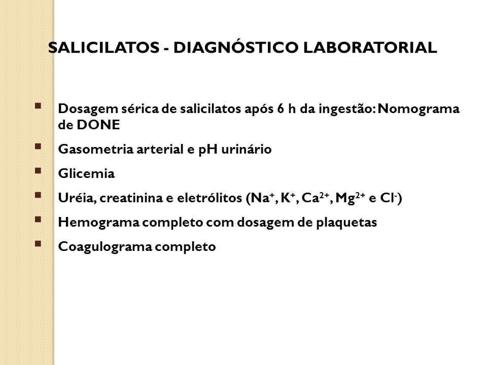 SALICILATOS - DIAGNÓSTICO LABORATORIAL