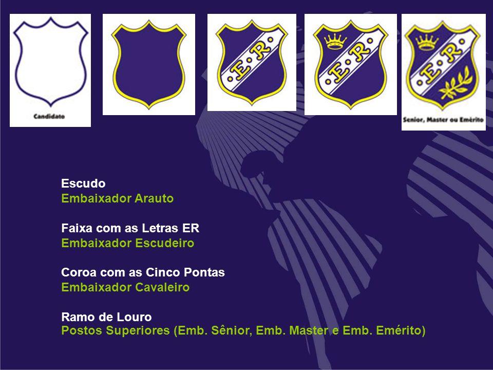 Escudo Embaixador Arauto. Faixa com as Letras ER. Embaixador Escudeiro. Coroa com as Cinco Pontas.