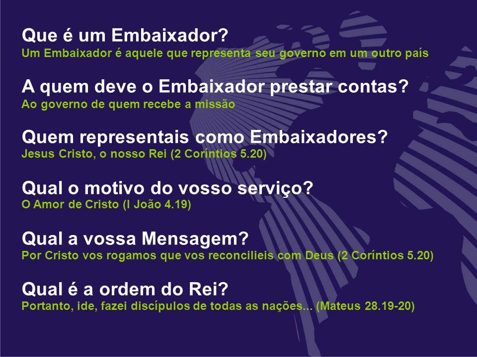 A quem deve o Embaixador prestar contas