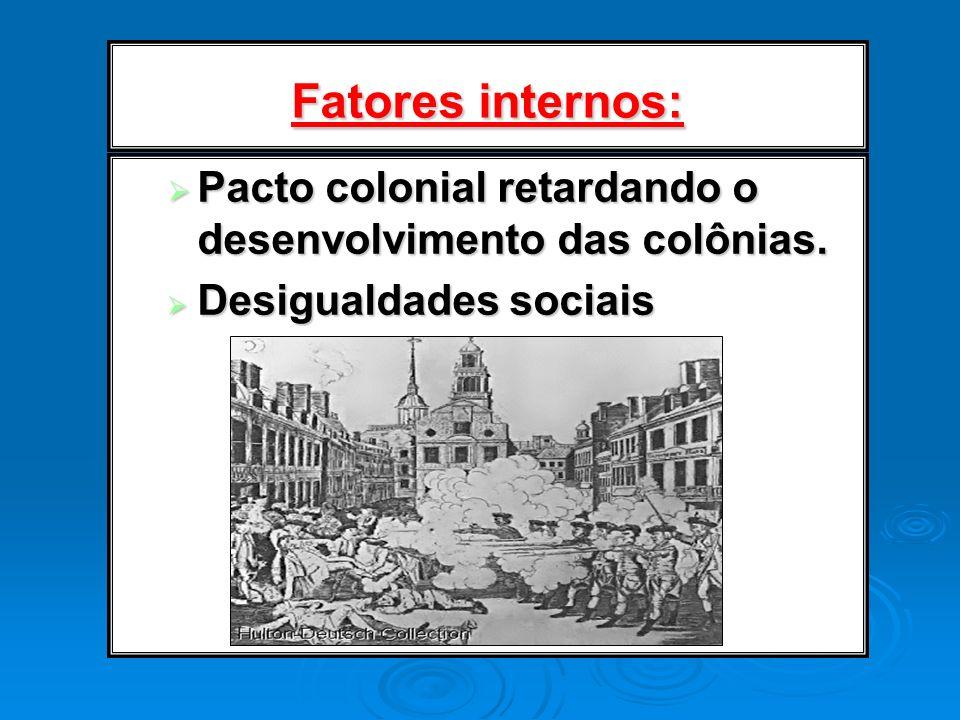 Fatores internos: Pacto colonial retardando o desenvolvimento das colônias. Desigualdades sociais
