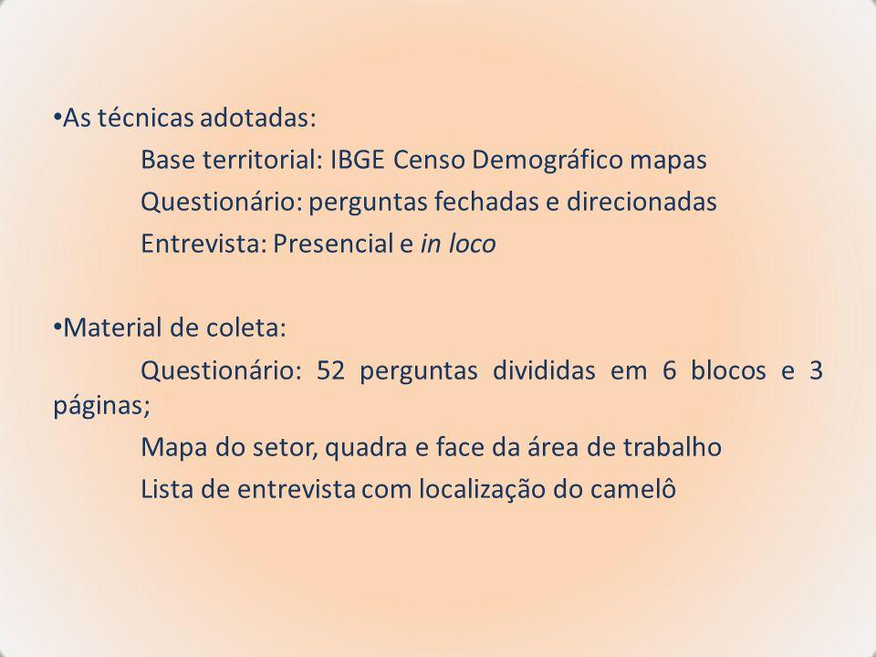 As técnicas adotadas: Base territorial: IBGE Censo Demográfico mapas. Questionário: perguntas fechadas e direcionadas.
