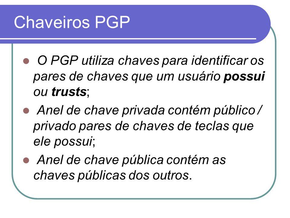 Chaveiros PGP O PGP utiliza chaves para identificar os pares de chaves que um usuário possui ou trusts;