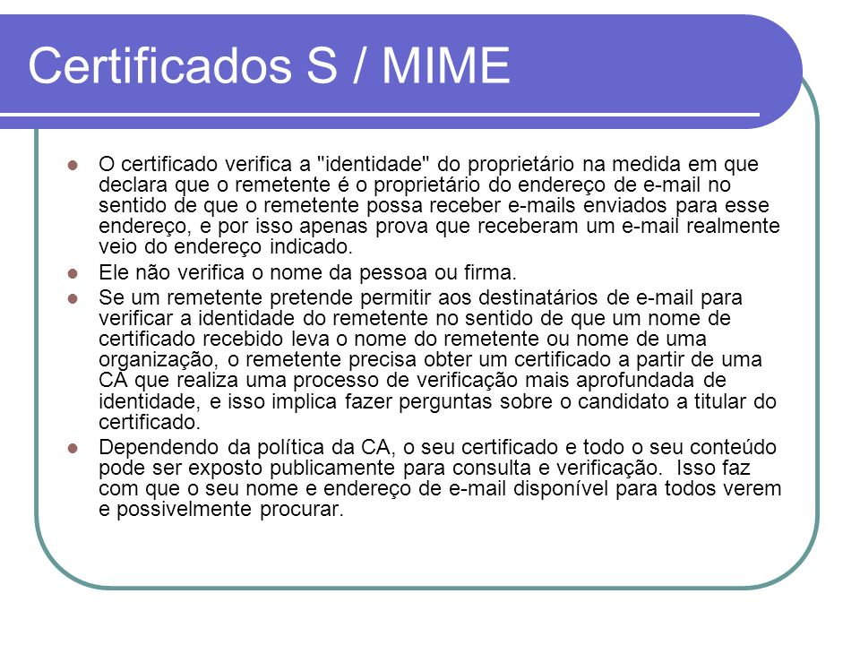 Certificados S / MIME