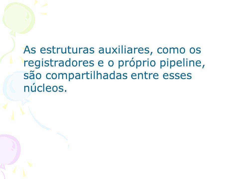 As estruturas auxiliares, como os registradores e o próprio pipeline, são compartilhadas entre esses núcleos.