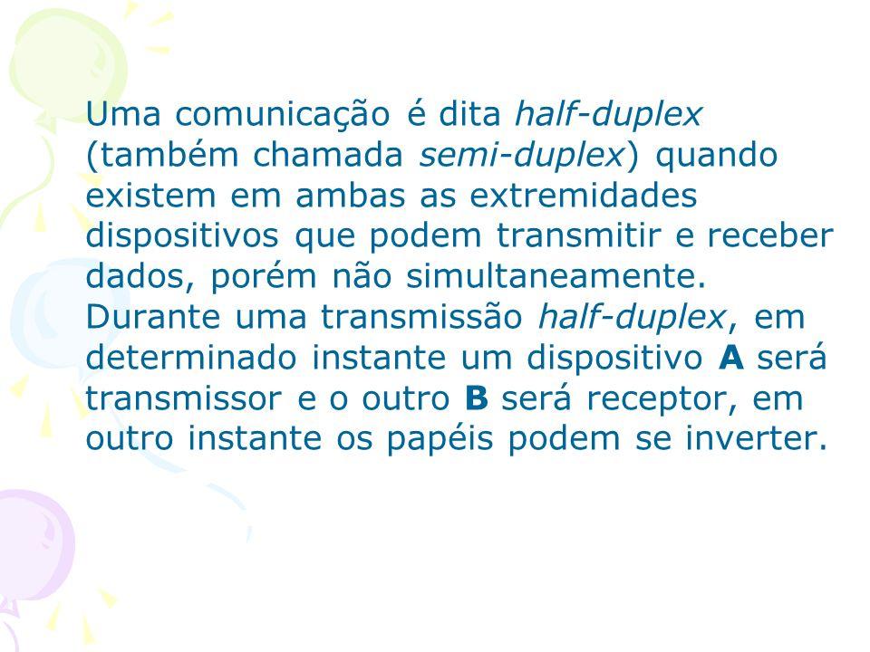 Uma comunicação é dita half-duplex (também chamada semi-duplex) quando existem em ambas as extremidades dispositivos que podem transmitir e receber dados, porém não simultaneamente.