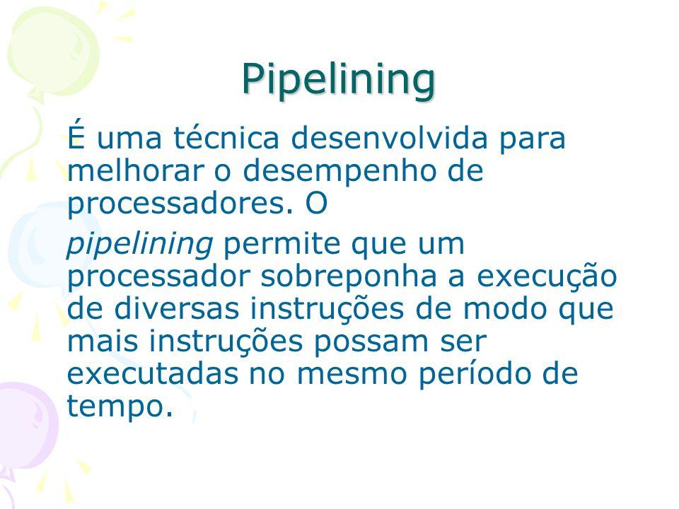 PipeliningÉ uma técnica desenvolvida para melhorar o desempenho de processadores. O.