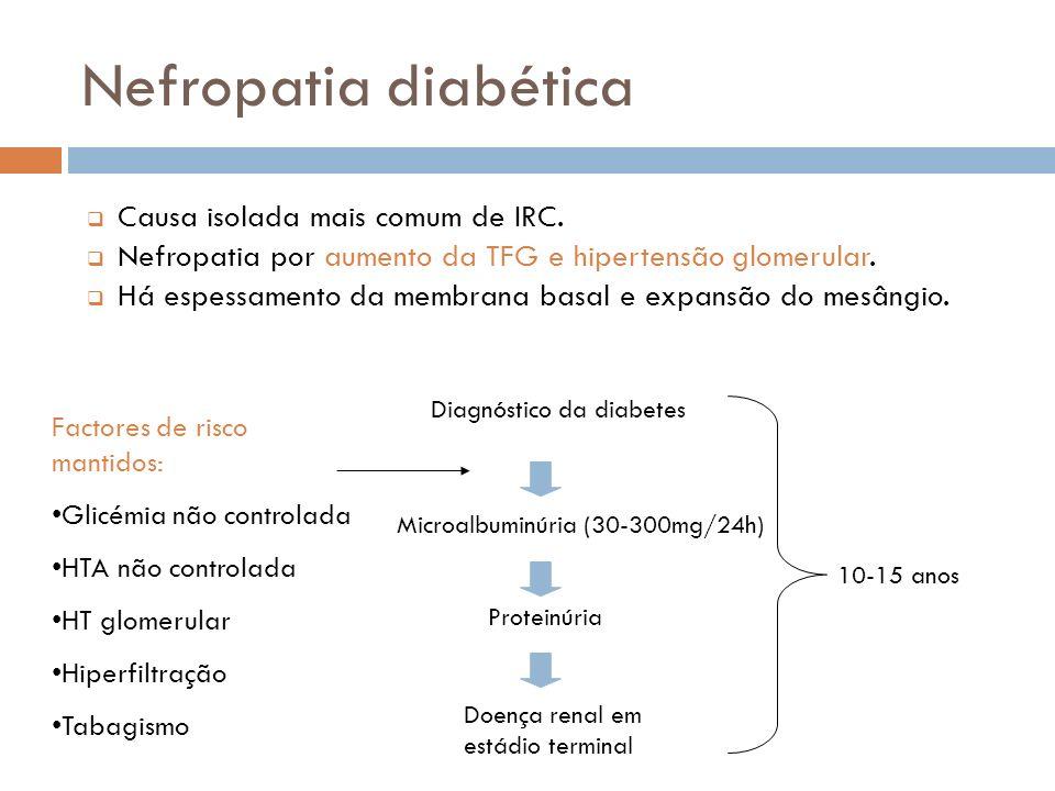 Nefropatia diabética Causa isolada mais comum de IRC.