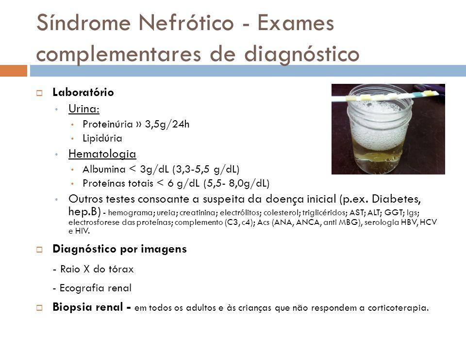 Síndrome Nefrótico - Exames complementares de diagnóstico