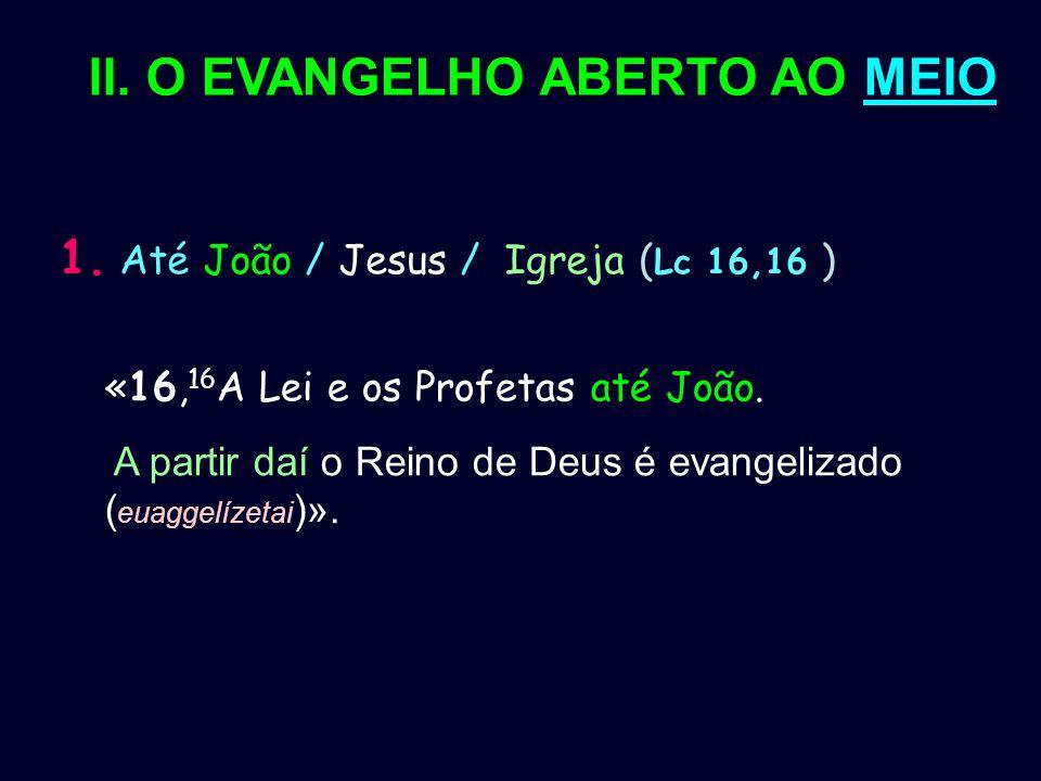 II. O EVANGELHO ABERTO AO MEIO