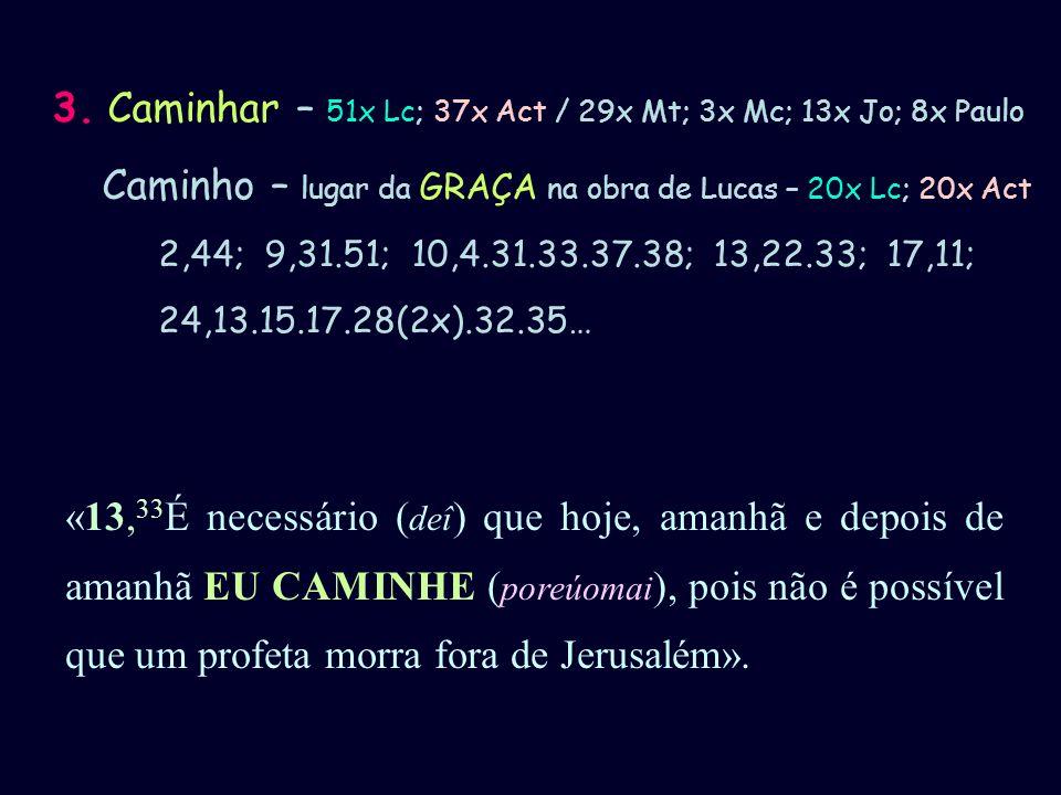 3. Caminhar – 51x Lc; 37x Act / 29x Mt; 3x Mc; 13x Jo; 8x Paulo