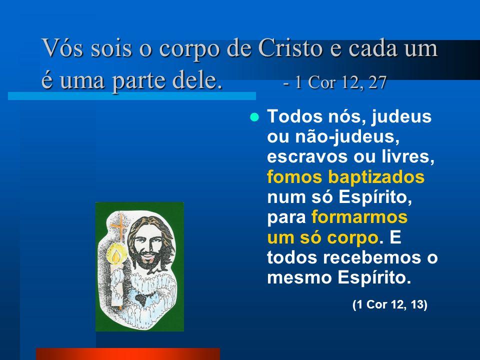 Vós sois o corpo de Cristo e cada um é uma parte dele. - 1 Cor 12, 27