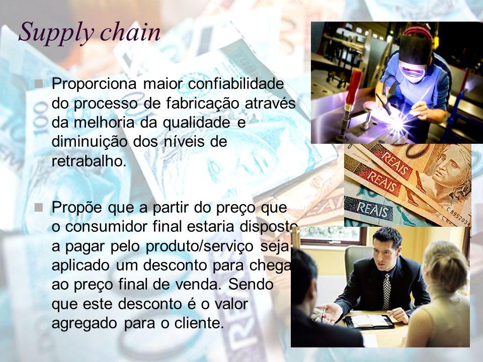 Supply chain Proporciona maior confiabilidade do processo de fabricação através da melhoria da qualidade e diminuição dos níveis de retrabalho.