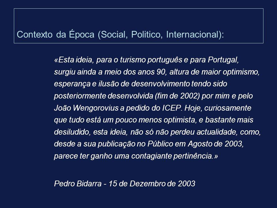 Contexto da Época (Social, Politico, Internacional):