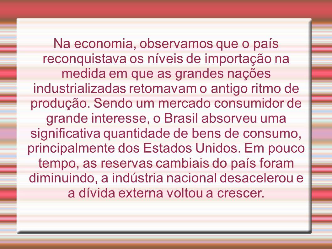Na economia, observamos que o país reconquistava os níveis de importação na medida em que as grandes nações industrializadas retomavam o antigo ritmo de produção.
