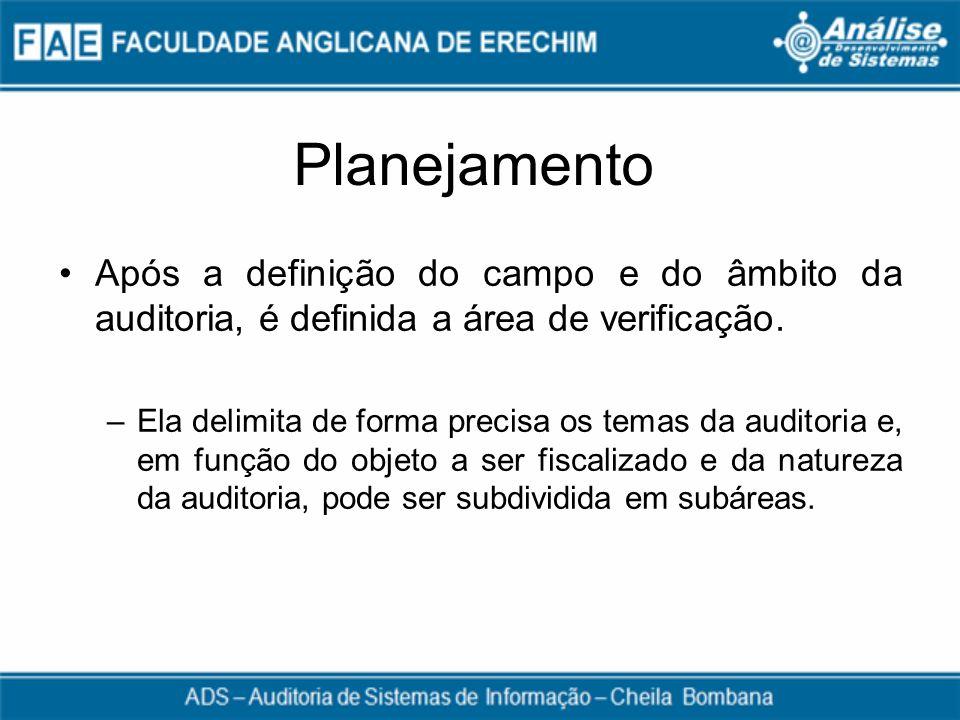 Planejamento Após a definição do campo e do âmbito da auditoria, é definida a área de verificação.