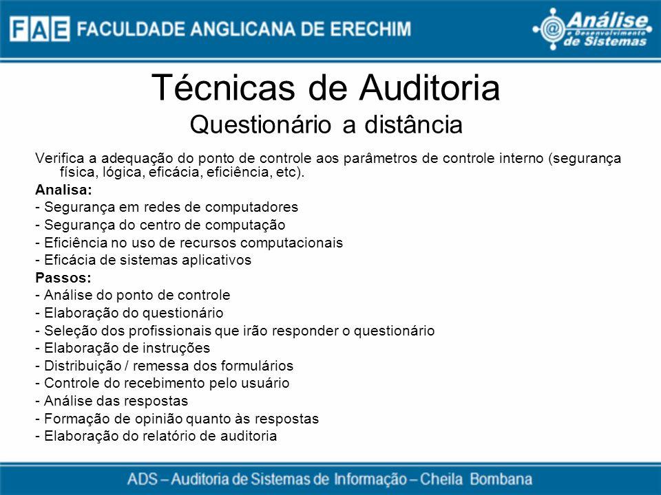 Técnicas de Auditoria Questionário a distância