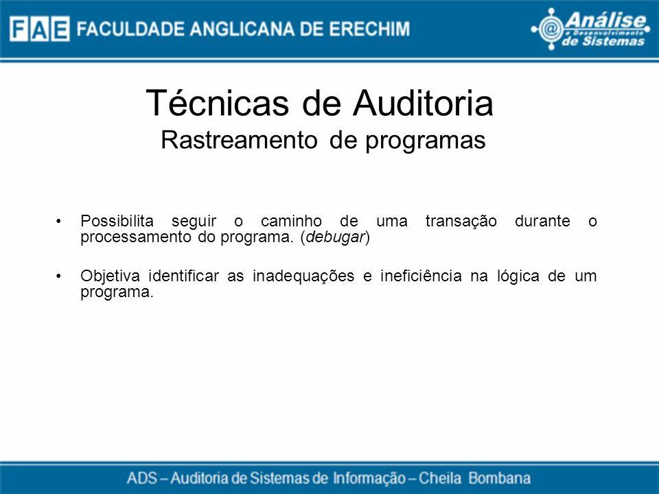 Técnicas de Auditoria Rastreamento de programas
