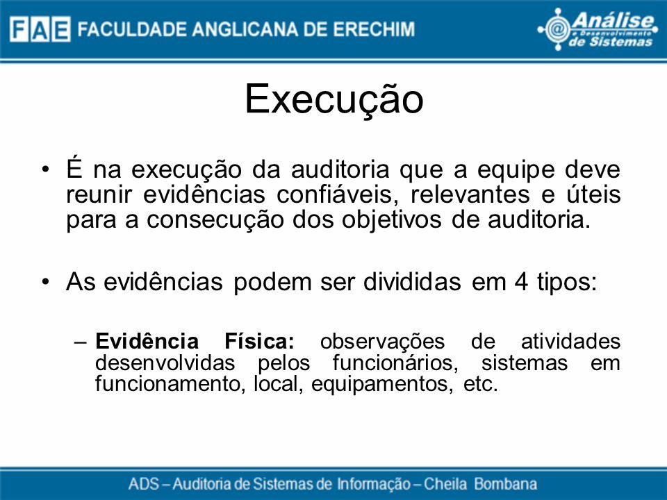 Execução É na execução da auditoria que a equipe deve reunir evidências confiáveis, relevantes e úteis para a consecução dos objetivos de auditoria.
