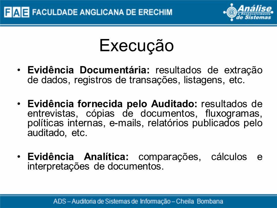 Execução Evidência Documentária: resultados de extração de dados, registros de transações, listagens, etc.