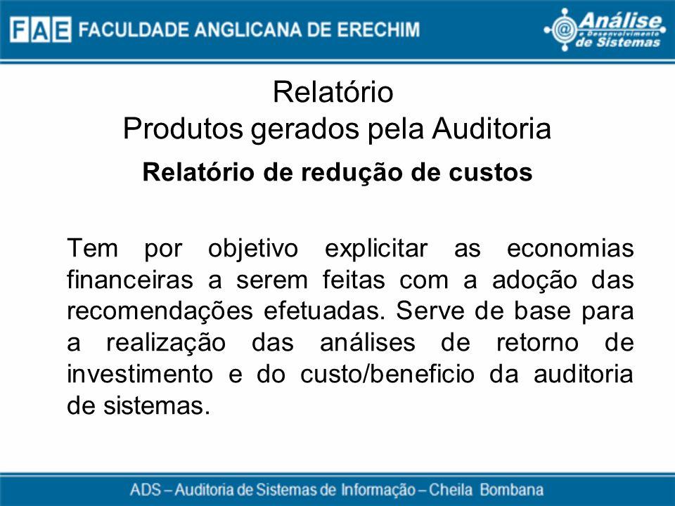 Relatório Produtos gerados pela Auditoria