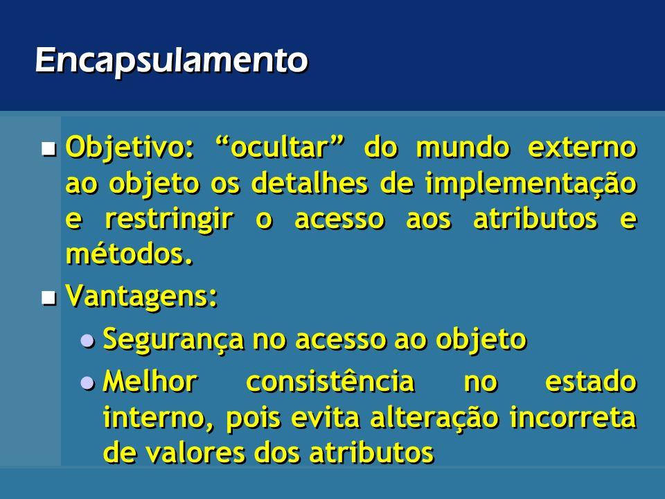 Encapsulamento Objetivo: ocultar do mundo externo ao objeto os detalhes de implementação e restringir o acesso aos atributos e métodos.